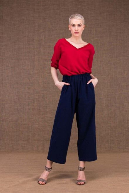 Halny wide dark blue cotton trousers - 2