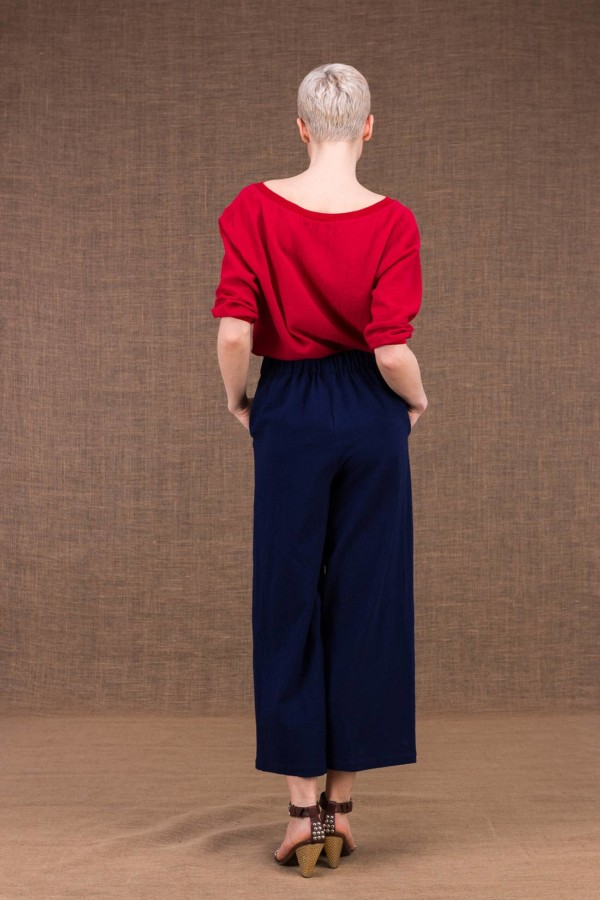 Halny wide dark blue cotton trousers - 4