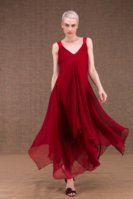 Jade long flared red silk dress - 1