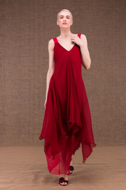 Jade long flared red silk dress - 2