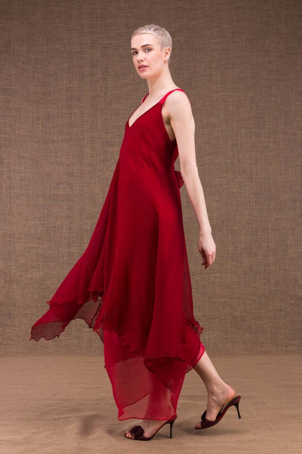Jade long flared red silk dress - 3
