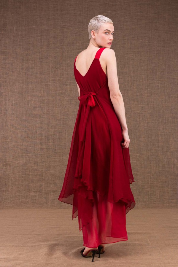 Jade long flared red silk dress - 4