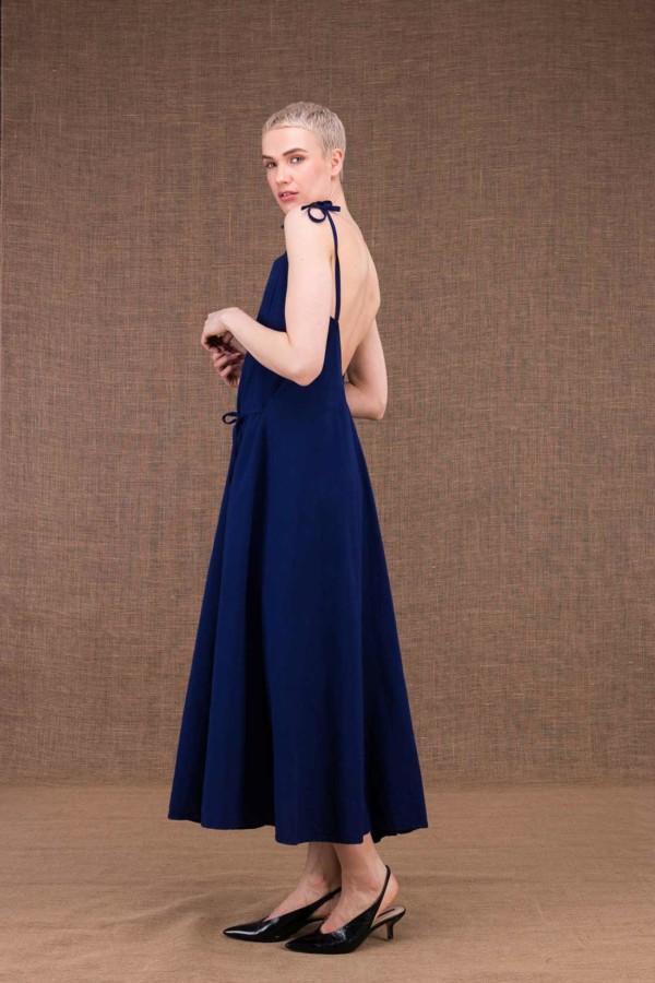 Ma Lg robe longue evasee bleu fonce en coton - 1