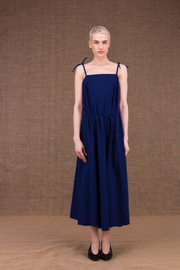 Ma Lg robe longue evasee bleu fonce en coton - 2