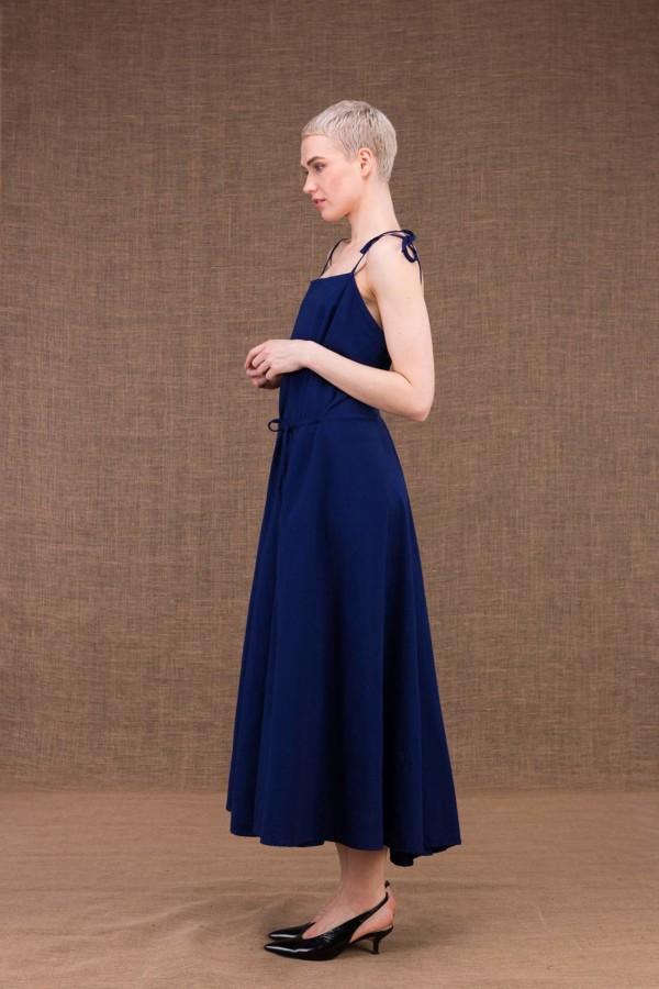 Ma Lg robe longue evasee bleu fonce en coton - 3
