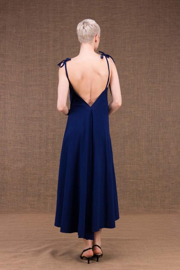 Ma Lg robe longue evasee bleu fonce en coton - 4