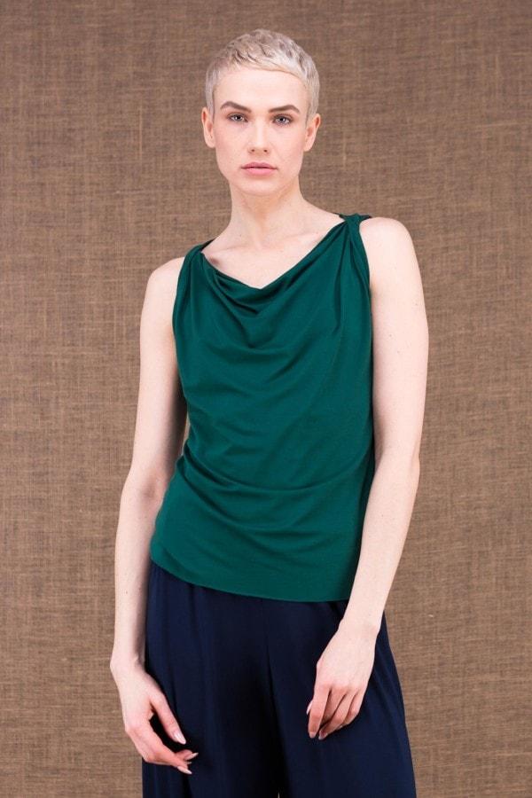 Parisa emerald top in viscose knit - 1