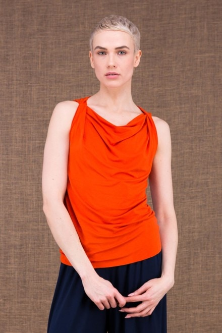 Parisa top orange en maille de viscose - 1