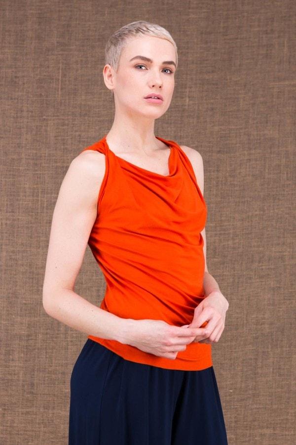 Parisa top orange en maille de viscose - 2