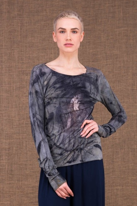 Safari Long Sleeve Top Hand Print Viscose Mesh - 1