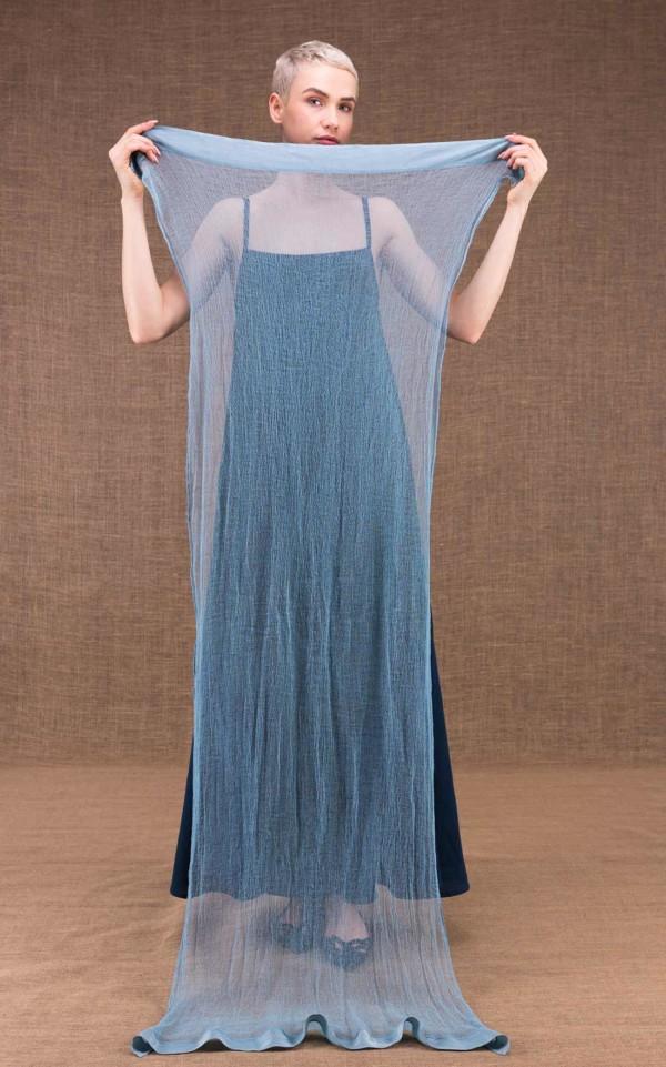 Sirro chale bleu en coton - 3
