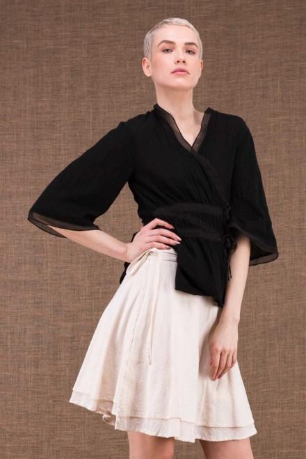 Aria jupe courte portefeuille blanc casee en coton - 1