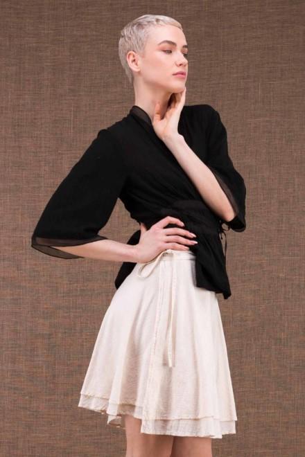 Aria jupe courte portefeuille blanc casee en coton - 2