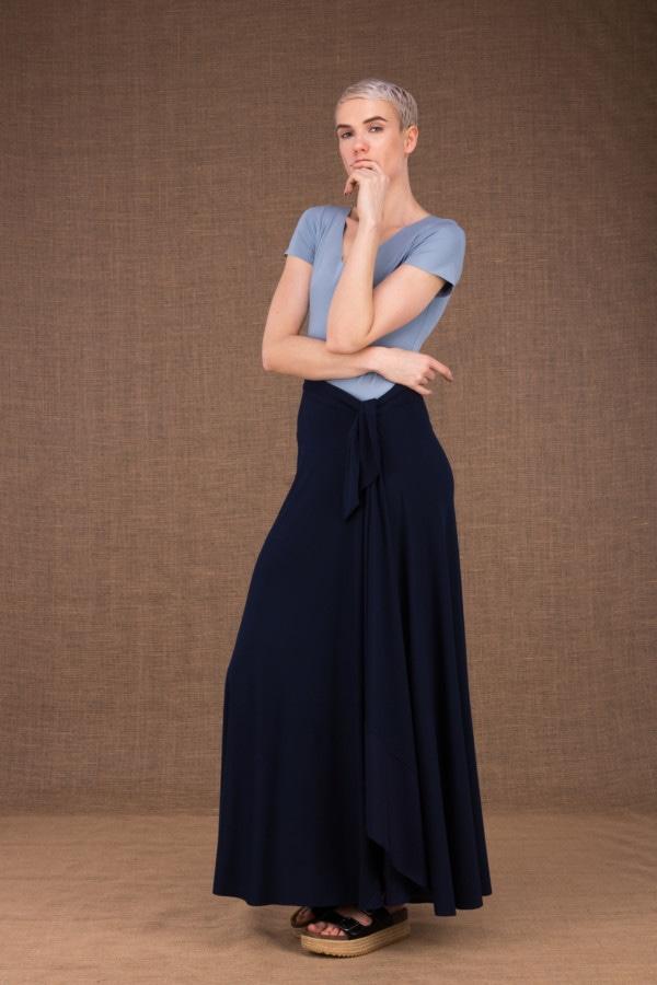 Blizzair jupe longue evasse portefeuille bleu fonce en coton - 1
