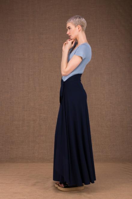 Blizzair jupe longue evasse portefeuille bleu fonce en coton - 2