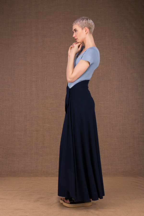 Blizzair long flared skirt with dark blue wallet in cotton - 2