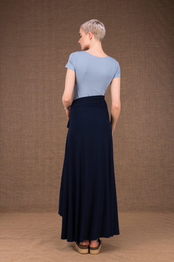 Blizzair long flared skirt with dark blue wallet in cotton - 3