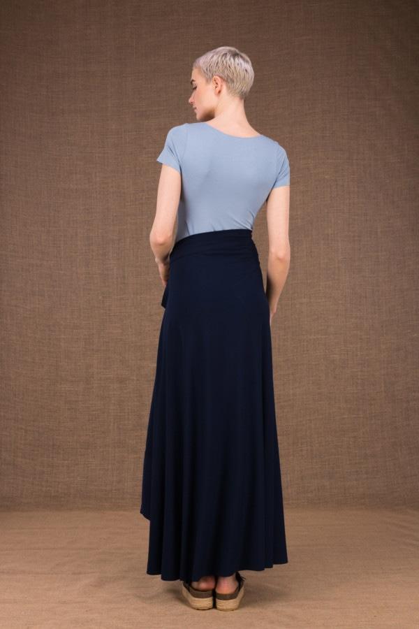 Blizzair jupe longue evasse portefeuille bleu fonce en coton - 3