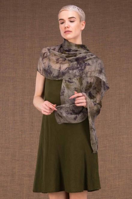 Bryza shawl eco print silk - 2