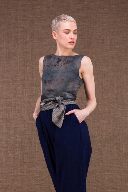 Ceinture Cravate vintage gris argente - 1