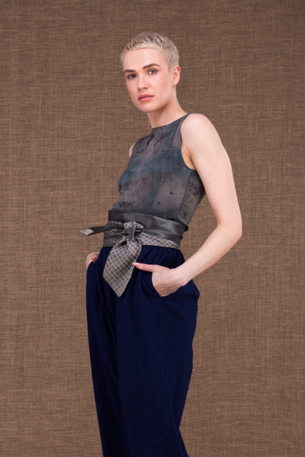 Belt Tie vintage silver gray - 2