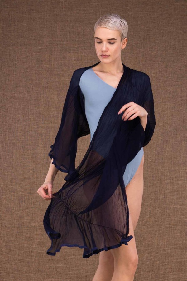 Cumulus shawl with ink blue silk sleeves - 3
