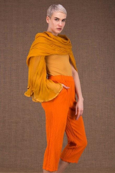 Cumulus chale avec une manche orange en soie - 2