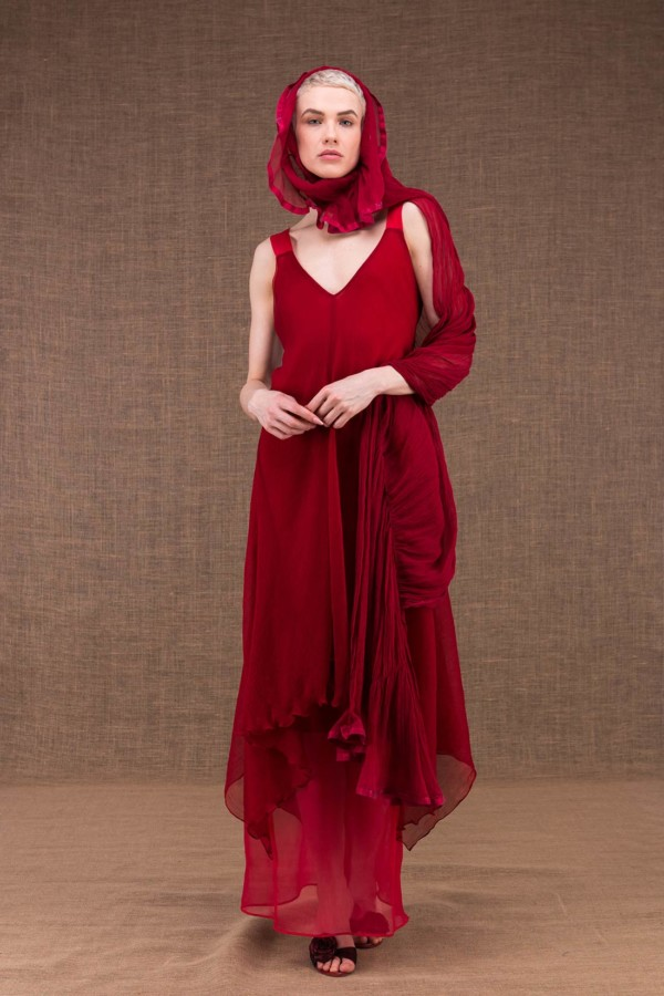 Cumulus red silk shawl - 3