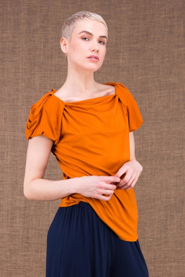 Epi top saffron in viscose knit - 1