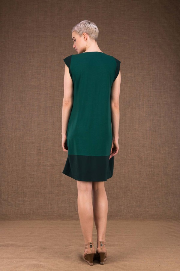 Gipsy mid emerald short dress in viscose knit - 4