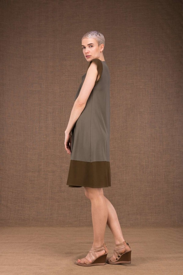 Gipsy robe mis longue olive en maille de viscose - 2