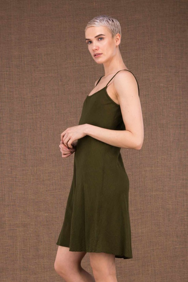 Miami Ct Khaki Cotton Short Dress - 2