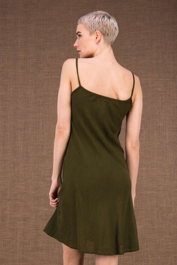 Miami Ct Khaki Cotton Short Dress - 3