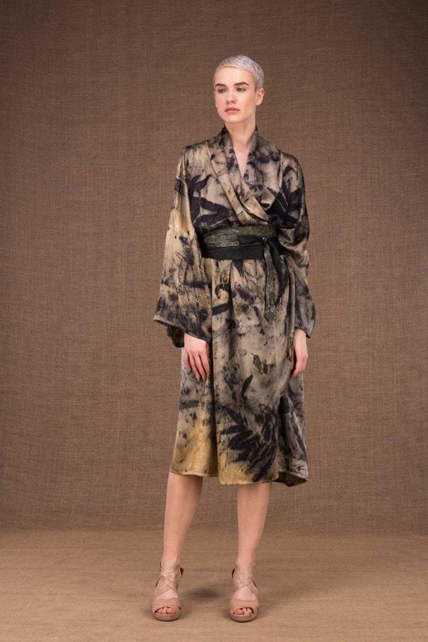Robelini eco print silk kimono dress - 1