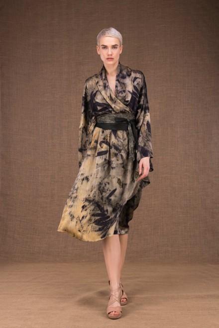 Robelini eco print silk kimono dress - 2