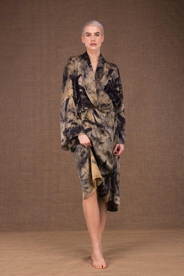 Robelini eco print silk kimono dress - 3