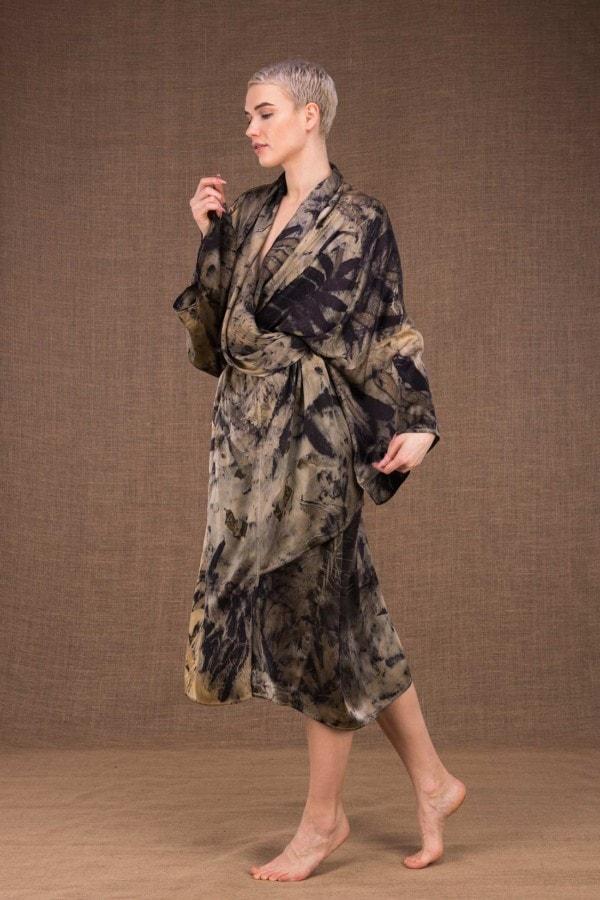 Robelini eco print silk kimono dress - 4