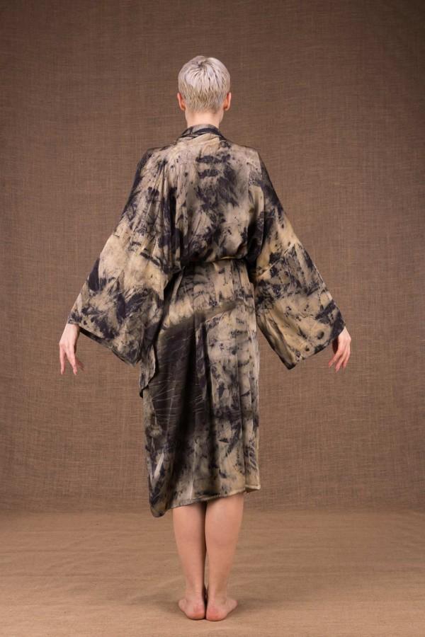 Robelini eco print silk kimono dress - 5