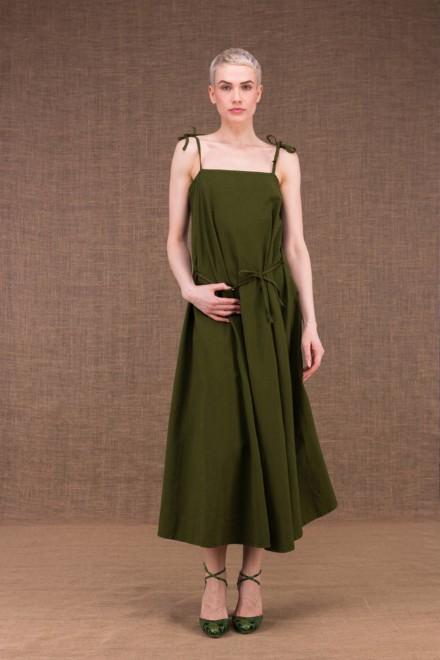 Ma Longue kaki robe en coton - 1