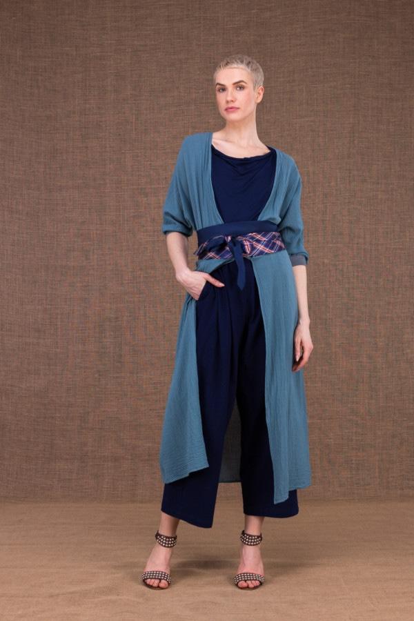 Tie-belt vintage navy blue silk - 2