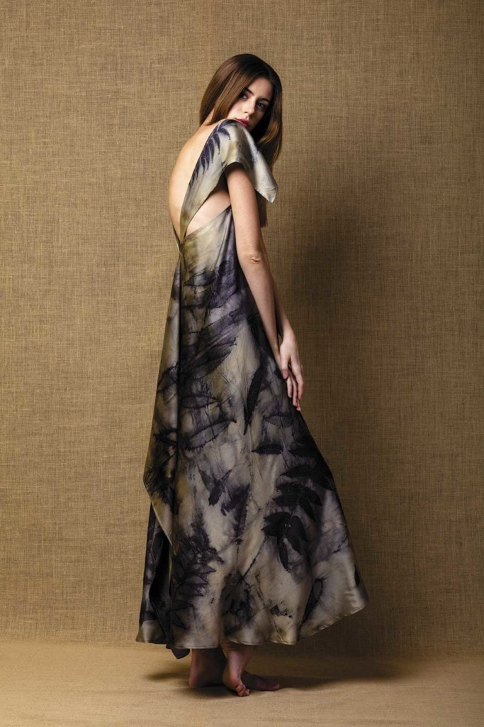 Gaia dress in Eco-Printed satin silk handmade