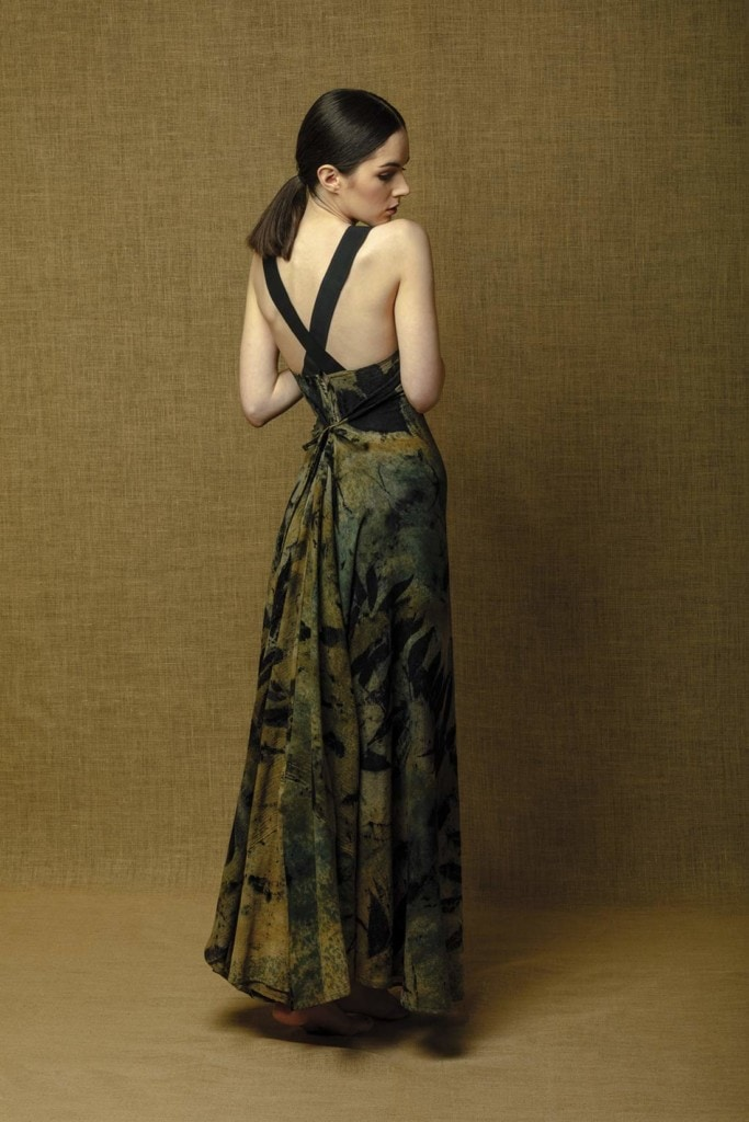 Long flared backless dress in Eco-Printed cotton brown beige black handmade