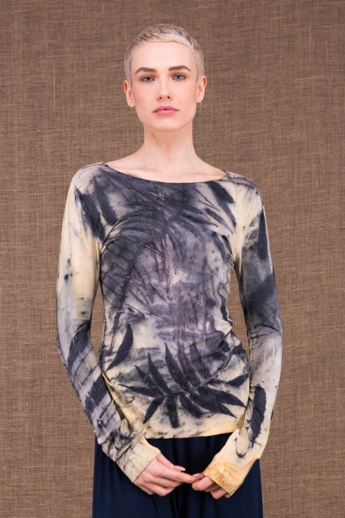 Safari Light top in Eco-Printed viscose knit handmade