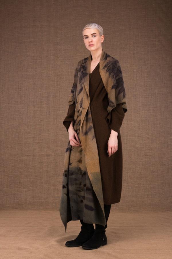 Virtuo eco-print wool shawl - 2