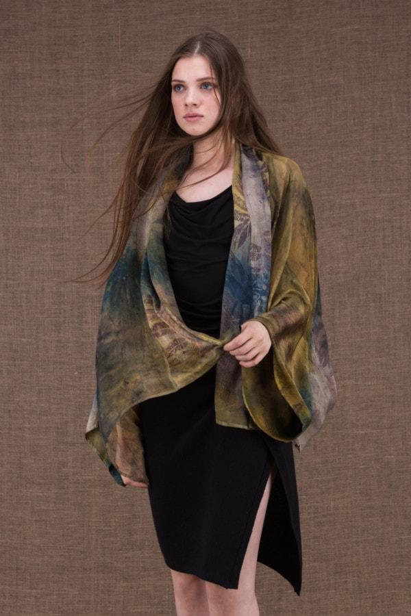 Fiji eco-print silk jacket-kimono - 1