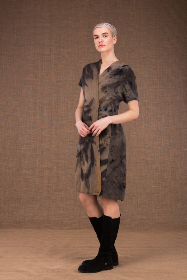 FOREST eco-print woolen wrap dress - 1