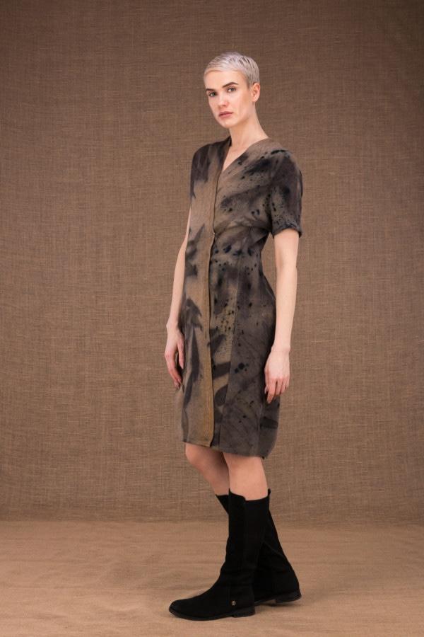 FOREST eco-print woolen wrap dress - 2