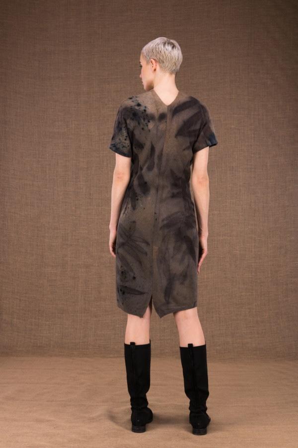 FOREST eco-print woolen wrap dress - 3