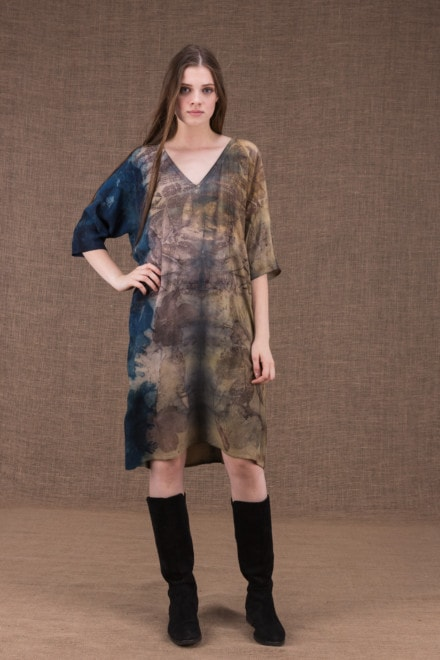 GIGI eco-printed viscose tunic-dress - 1