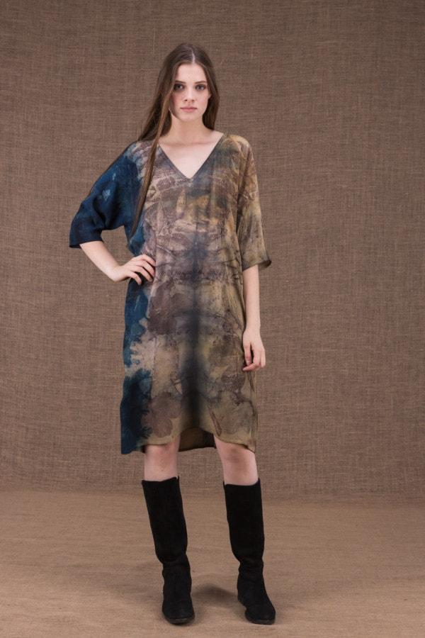 GIGI robe-tunique en viscose eco-print - 1